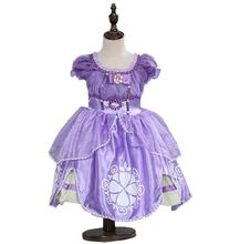 Hot Sale Girls Princess sofia dresses Kids Clothes For Girl Cocktail dress Puff Sleeve Vestido infant Party wear(China)