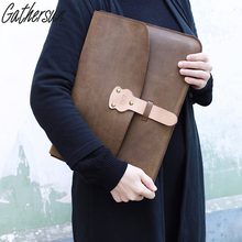 "Gathersun Brand Original Design Handmade Leather Handbag Genuine Leather Bags For Laptop Computer 13.3"" Women Clutch Handbags(China)"