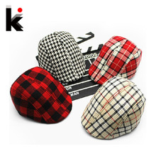 Free shipping 2017 Spring and Autumn Kids Fashion Berets Plaid Hats For Baby Boy And Girl  Hat And Cap  9 Colors