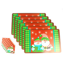 Red Santa Claus Tableware Mat Pads Christmas Home Hotel Party Dinner Table Decorations Happy New Year Xmas Pad Cup Mat Set(China)