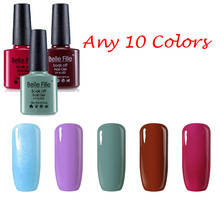 Any 10 colors UV Gel Polish BELLE FILLE 10ml Plain colour Gel Nail Polish bean red green black Varnish Currd by UV Lamp(China)