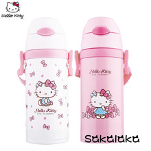 Hello Kitty 380ml stainless steel vacuum thermal insulation water glass bottle for kids