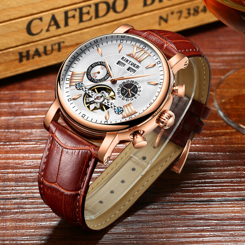 KINYUED Flying Tourbillon Watch Skeleton Men Leather Waterpoof Business Calendar Mens Mechanical Watches Automatic montre homme 1