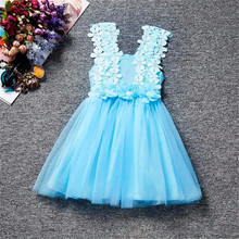 Flower Girls Dress For Child Summer 2017 Floral Tulle Kids Dresses for Girls Clothes Wedding Party Toddler Girl Vestido 2-6 Year(China)