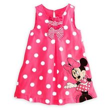 Fashion Baby Kids Girls Clothes Dresses Minnie Polka Red Pink Dot Bows Casual Cotton Party Short Dress 1 - 6 Years