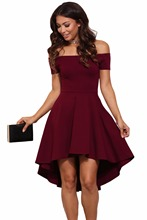 2017 Autumn Fashion Women Plus Size Evening Party High Low Dresses Off Shoulder Short Sleeve All The Rage Skater Dress LC61346
