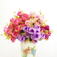 14 Head 30cm Artificial Fake Silk Rose Lotus Flowers Leaf Bouquet Wedding Home Decoration(China)
