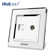 Free Shipping Hot Sale China Manufacturer Wallpad Push Button Luxury Arylic Mirror Panel Wall Light Switch TV+COM Socket