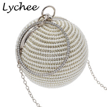 Lychee Artificial Pearl Beaded Diamond Evening Bag Bridal Wedding Round Ball Day Clutches Handbag(China)