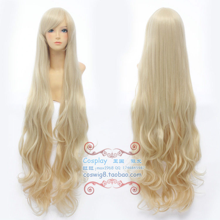 Kagero project marry Light Blonde 100cm Long Curly Hair Cosplay Wigs Party cosplays heat resistant (B0320)<br><br>Aliexpress