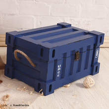 Blue Hemp Handle Shabby Industrial Solid Wood Box with Hinged Lid