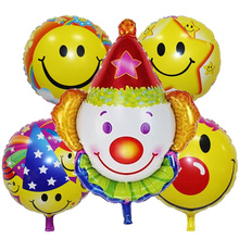 5 Pieces/lot Clown foil balloons Smiling Face Globos Inflatable Toys Birthday Party Decorations Kids Halloween Party Supplies(China)