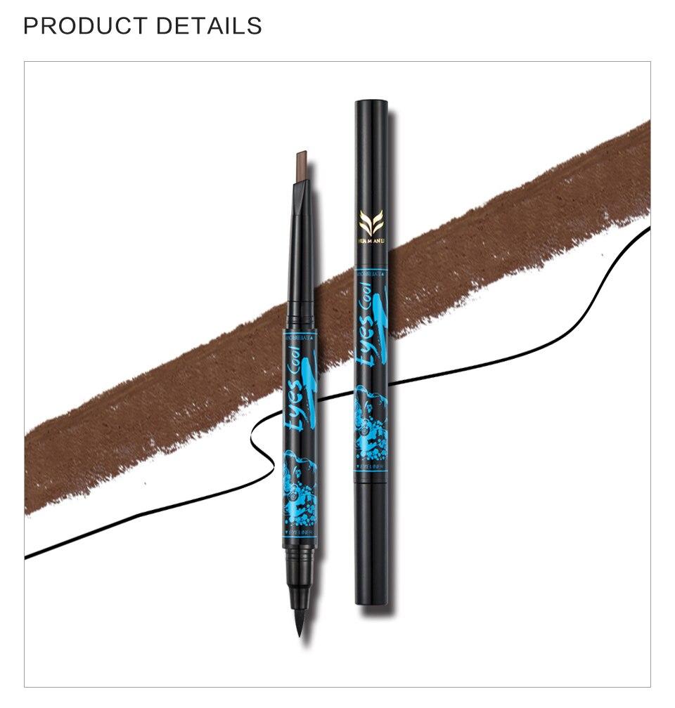 Huamianli 2in1 Waterproof 5 Nature Color Eye Brow Pen Pencil Long Lasting Nude Rotation Eyebrow Pencil Cosmetic Eye Makeup Tools 10