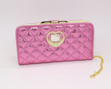 Hello Kitty Long cat women wallets Fashion solid cute famous brand purse wallet High quality PU red male purse