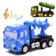 Cool!LED Plastic ABS military vehicle truck with light and music Educational toys for children birthday Camo blue/green(China)