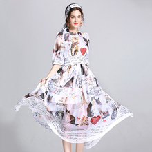 New 2017 High Quality Summer Dress Women's Half Sleeve Casual Animal Cat Letter Chiffon Printed Long Dress With Scarf(China)