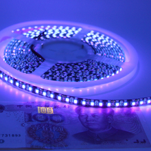 12V UV Led Flexible Strip Light 395-405nm Ultraviolet waterproof Purple 3528 SMD 120led/m Tape Black PCB lamp lighting(China)