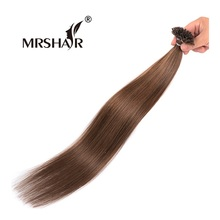 "MRSHAIR 6# U Tip Hair Extensions 1g/pc Pre Bonded Nail Hair Extensions Non Remy U Tip Middle Brown Hair On Capsules 16"" 20"" 24""(China)"