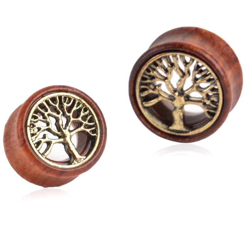 2pcs fashion flesh tunnels ear plugs big gauge piercing ear expanders Wooden Tree Of Life 8mm - 20mm pircing body jewelry