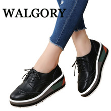 WALGORY Women Platform Shoes Woman Brogue Leather Flats Lace Up Footwear Female Flat Oxford Shoes For Women Creepers(China)