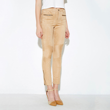 MY MAYAASOS Fashion Pencil Pants Women Mid Waist Casual Slim Pants Female Solid Khaki Flat Ankle-Length Pants Ladies
