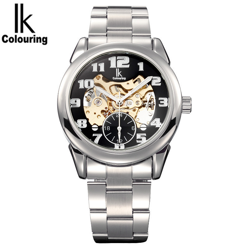 2017 Luxury IK Casual Horloges Mannen Mens Skeleton Dial Hardlex Auto Mechanical Wristwatch with Gift Orignial Box Free Ship<br>