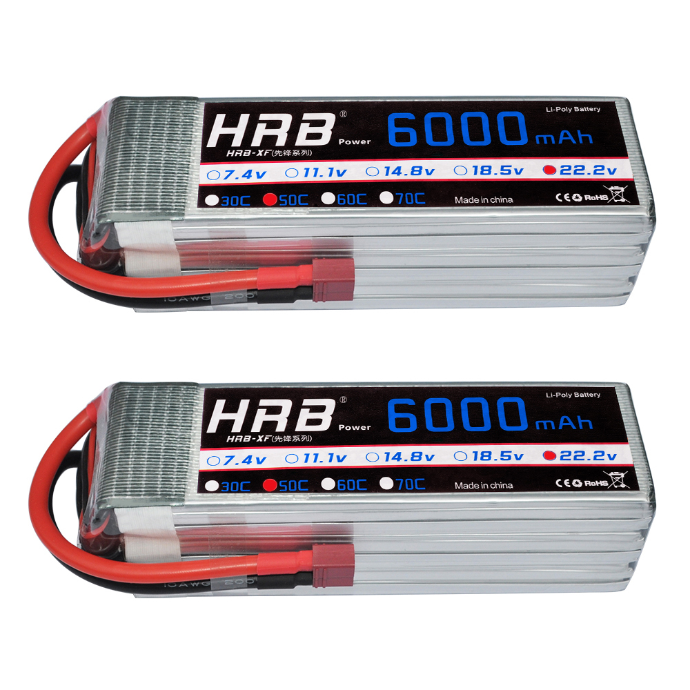 2pcs HRB AKKU 22.2V 6000mAh 50C-100C 6S RC LiPo Battery For Airplane Helicopter Aircraft Quadcopter Drone Toys(China)
