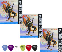 3 Sets A506 Bright Sound Nickel Plated Steel Nickel Alloy Wound Electric Guitar Strings ,three gauges 008 009 010 ,Free 6 Picks(China)