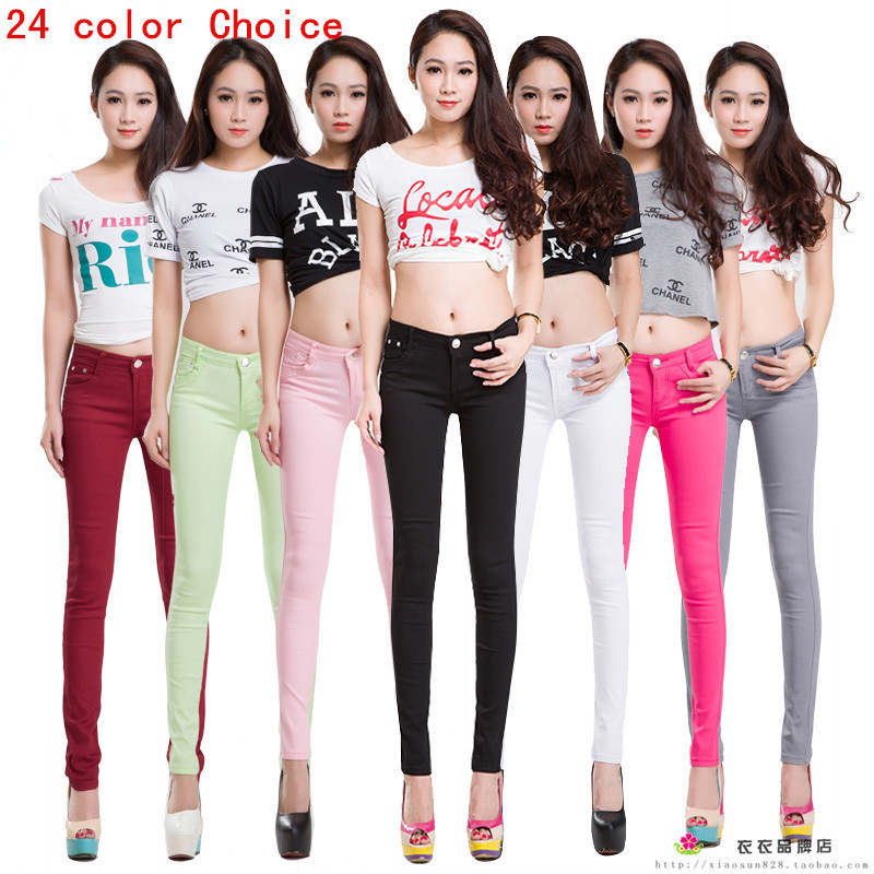 2015 Spring New Autumn Fashion Pencil Jeans Woman Candy Colored Mid Waist Full Length Zipper Slim Fit Skinny Women PantsОдежда и ак�е��уары<br><br><br>Aliexpress