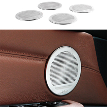 4PCS Chrome plate Stainless Steel Speaker Audio Panel Ring Trim Cover For BMW X5 E70 2007-2013 & X6 E71 2008-2014