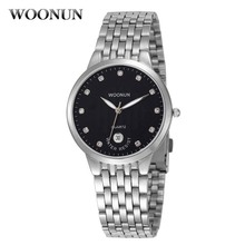 Relogio Masculino WOONUN Casual Men Watches Silver Full Steel Quartz Diamond Watches For Men Super Thin Watches 30M Waterproof(China)