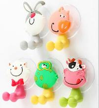 BOHS Lovely Animals Cartoon Sucker Toothbrush Holder  Suction Hooks 5pcs/lot