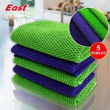 East 5pcs/lot 30X30 Microfiber PP Wire Scouring Pad Cleaning Cloth Washing Dishes Strong Decontamination Ability Kitchen Cloth(China)