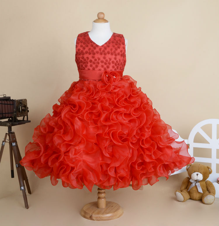 Girls V-neck dress beads organza wedding dress three-dimensional flower dresses children clothes<br>