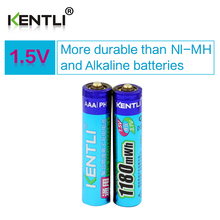 2 pcs/lot Low self discharge KENTLI 1.5V AAA 1180mWh polymer li-ion Rechargeable Batteries battery(China)