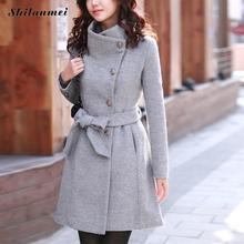Gothic winter coat women wool coats big size grey black warm thick jacket long overcoat autumn outwear casaco feminino with belt