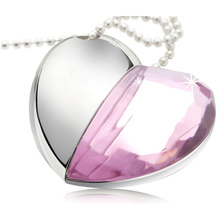 Pink and Silver 8GB U Heart Shaped Disk Memory Crystal USB 2.0 Flash Drive with Pendant Necklace
