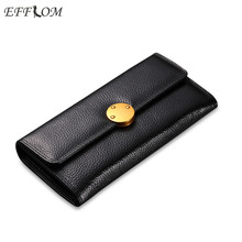 Women Luxury Brand Wallets and Purses Cowhide Ladies Fine Genuine Leather Slim Wallet Female Solid Wallet Credit Card Holder(China)