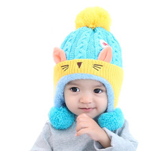 Newborn Baby Hat Dual Balls Girl Boy Knitting Wool Keep Warm Baby Cap Baby Winter Hat Bonnet Enfant(China)