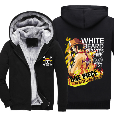 ONE PIECE winter coats hoodie jackets Anime Hooded Zipper men thick cardigan Captain cosplay anime Trafalgar Law Ace