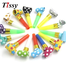 Wholesale!50PCS Blowouts Whistles Dots Whistle Blowing Dragon Kids Birthday Party Favors Decoration Supplies Children Gifts(China)