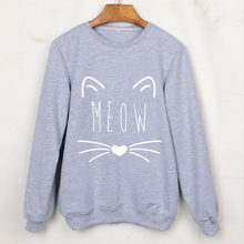 Cute Cat Print Animal Sweatshirts Long Sleeve O-Neck Women Hoodies Hip Hop Punk Pullovers Grey Polerones Tracksuits(China)