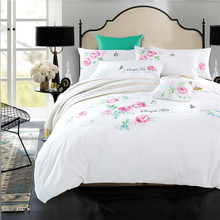 Fresh princess style floral print bedding sets satin embroidery white linens Queen/King size duvet cover set sheets sets(China)