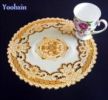 30cm HOT Gold PVC placemat for table place mat Christmas pad cup mug holder dining coaster round drink doily placement kitchen