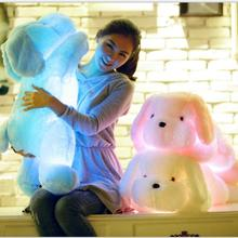 Buy hot sale big size 80cm colour luminous stuffed dog plush pillow pillow glow led light children toys stuffed animal doll for $19.00 in AliExpress store