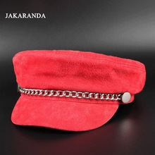 JA0108 2017 Autumn Feminina Genuine Leather Silver Chain Berets Lady/Student Pigskin Suede Gorras red/Pink Color Bob Hip-hop Hat(China)