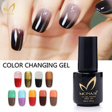 MONASI Fashion Design Charming Change Color Varnishes Long Lasting Gold Temperature Chameleon Color Changing Nail Polish