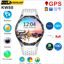 Best Smart Watch KW88 2MP camera GPS Navigation Wifi SIM WCDMA GSM Quad core Android OS 1.39'' AMOLED Display for iphone samsung(China)
