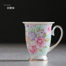 300 ml Beautiful Flower Pattern Design Ceramic Tea Cups And Mugs Creative Gift Bone China Cups For Milk Water