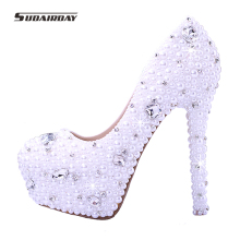 2017 New arrival Women pearl white Wedding pumps women's high heel platform wedding shoes High Heels crystal bridal shoes(China)